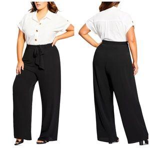 City Chic Black Tie Waist Palazzo Pants Plus Size
